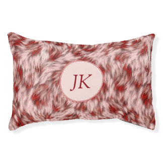 Beautiful Red & Pink Monogramed Dog Bed