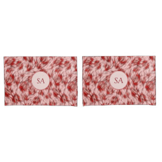 Beautiful Red & Pink Monogramed Pillow Cases