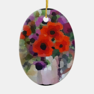 Beautiful Red Poppies Ceramic Ornament