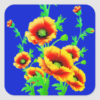 Beautiful Red Poppies on contrasting royal blue Square Sticker