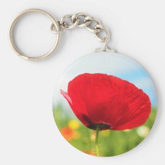 Beautiful Red Poppy Flower Basic Round Button Keychain