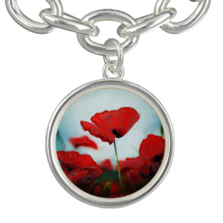 Beautiful Red Poppy Flower Charm Bracelet