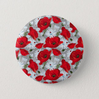 Beautiful red poppy, white daisies and ladybug 2 inch round button