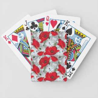 Beautiful red poppy, white daisies and ladybug bicycle playing cards