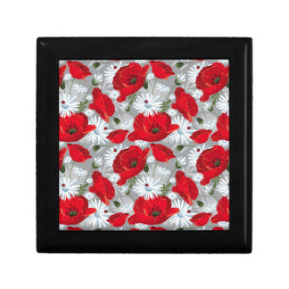 Beautiful red poppy, white daisies and ladybug gift box