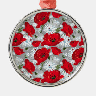 Beautiful red poppy, white daisies and ladybug metal ornament