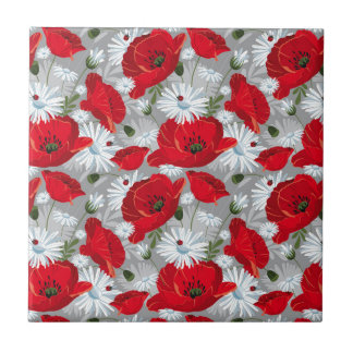Beautiful red poppy, white daisies and ladybug tile
