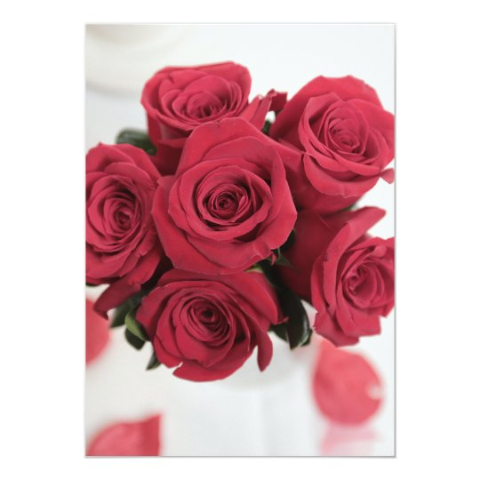Beautiful red rose bouquet on wedding invitation