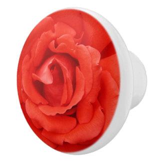Beautiful red rose ceramic knob