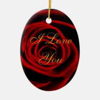 Beautiful red rose ceramic oval ornament