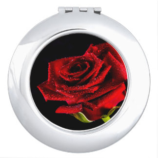 Beautiful red rose compact mirror