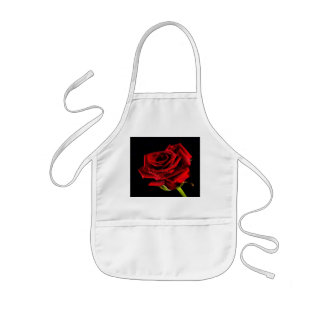 Beautiful red rose kids apron