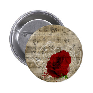 Beautiful red rose music notes swirl faded piano 2 inch round button