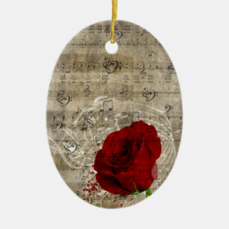 Beautiful red rose music notes swirl faded piano ceramic oval ornament