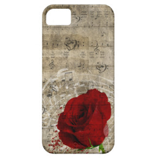 Beautiful red rose music notes swirl faded piano iPhone 5 case