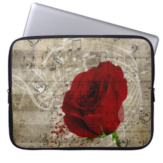 Beautiful red rose music notes swirl faded piano laptop sleeve