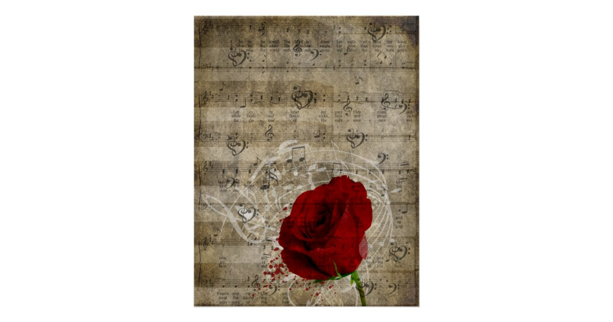 Beautiful red rose music notes swirl faded piano poster | Zazzle ca