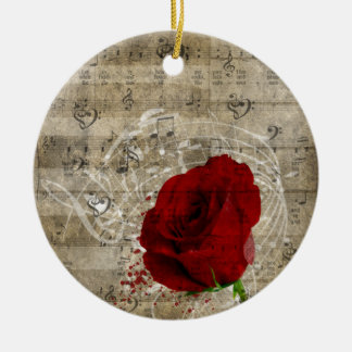 Beautiful red rose music notes swirl faded piano round ceramic ornament