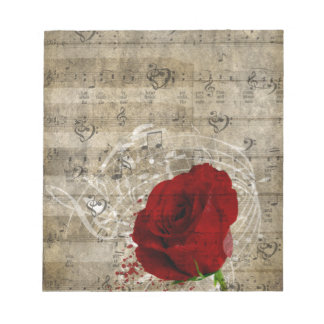 Beautiful red rose music notes swirl faded piano scratch pad