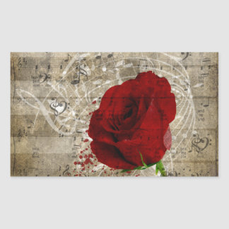 Beautiful red rose music notes swirl faded piano sticker