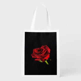 Beautiful red rose reusable grocery bag