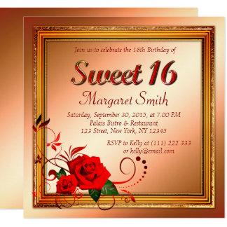 Beautiful red rose sweet 16 invitation