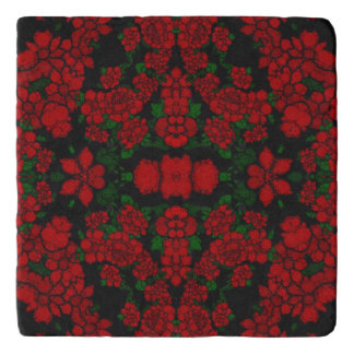 Beautiful Red Roses Abstract Trivet