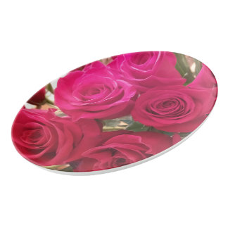 Beautiful Red Roses Print Oval Porcelain Platter