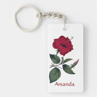 Beautiful Red Single Hibiscus Blossom Single-Sided Rectangular Acrylic Keychain