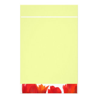 Beautiful Red Tulip Flowers. Stationery Paper