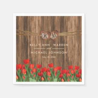Beautiful Red Tulips on Wood Paper Napkin