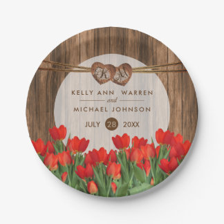 Beautiful Red Tulips on Wood Paper Plate