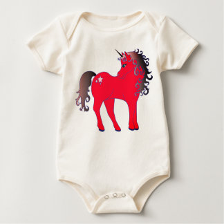 Beautiful Red Unicorn Baby Bodysuit