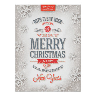 Beautiful Red & White Typography Snowflakes Poster