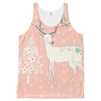 Beautiful Reindeer and Snowflakes Pink All-Over-Print Tank Top