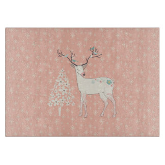Beautiful Reindeer and Snowflakes Pink Cutting Board