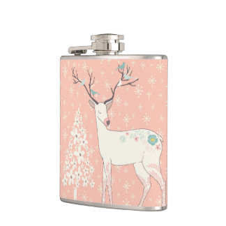 Beautiful Reindeer and Snowflakes Pink Hip Flask