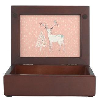 Beautiful Reindeer and Snowflakes Pink Keepsake Box
