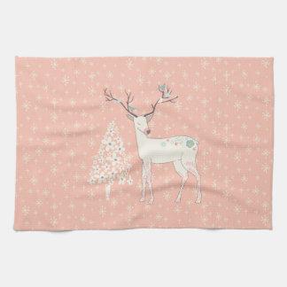 Beautiful Reindeer and Snowflakes Pink Kitchen Towel