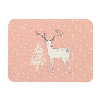 Beautiful Reindeer and Snowflakes Pink Magnet