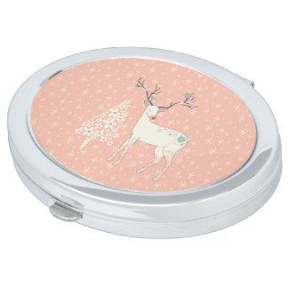 Beautiful Reindeer and Snowflakes Pink Makeup Mirror