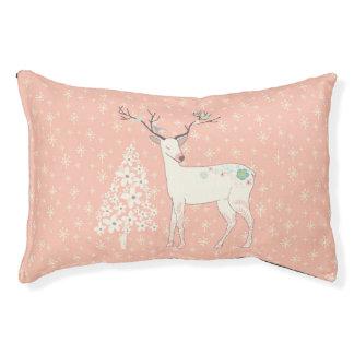 Beautiful Reindeer and Snowflakes Pink Pet Bed