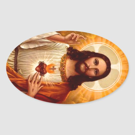 Beautiful religious Sacred Heart of Jesus image Oval Sticker