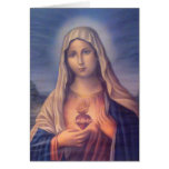 Beautiful Religious Sacred Heart of Virgin Mary Greeting Cards