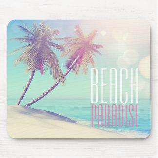 Beautiful Retro Beach Paradise Palm Tree | Mouse Pad