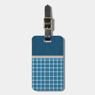 Beautiful Retro Country Blue Plaid Luggage Tag