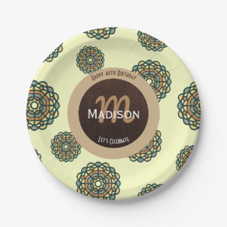 Beautiful Retro Earth Tones Abstract Birthday Paper Plate