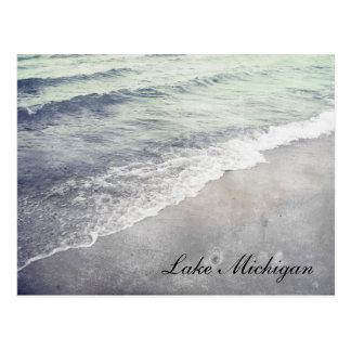 Beautiful Retro Lake Michigan Shoreline Beach Postcard