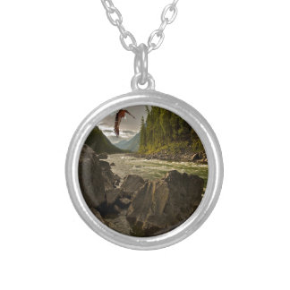 Beautiful River Landscape with Eagle Flying Silver Plated Necklace