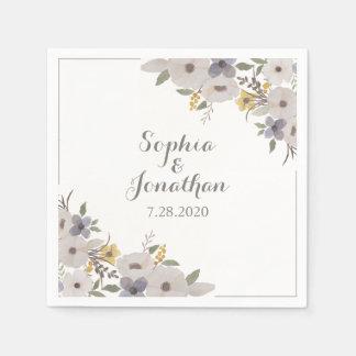 Beautiful Romantic Anemone Floral Wedding Napkin